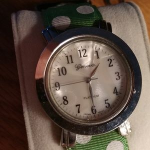 VINTAGE Polka Dot Grosgrain banded Wrist Watch